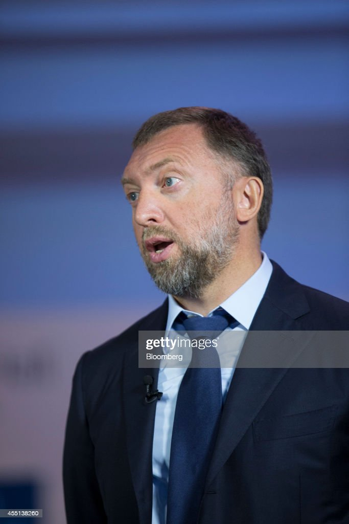 Oleg Deripaska chief executive officer of United Co Rusal speaks during a Bloomberg Television interview at the World Economic Forum Annual Meeting...