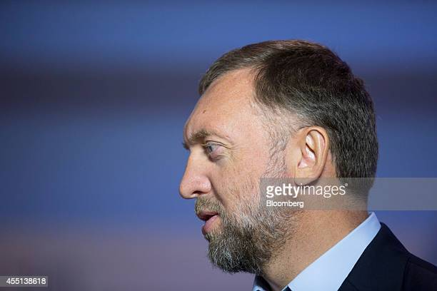 Oleg Deripaska chief executive officer of United Co Rusal stands ahead of a Bloomberg Television interview at the World Economic Forum Annual Meeting...