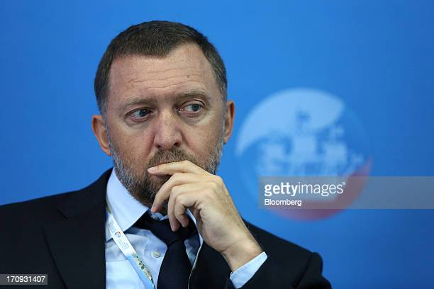 Oleg Deripaska Russian billionaire and chief executive officer of United Co Rusal pauses during a conference session on the opening day of the St...