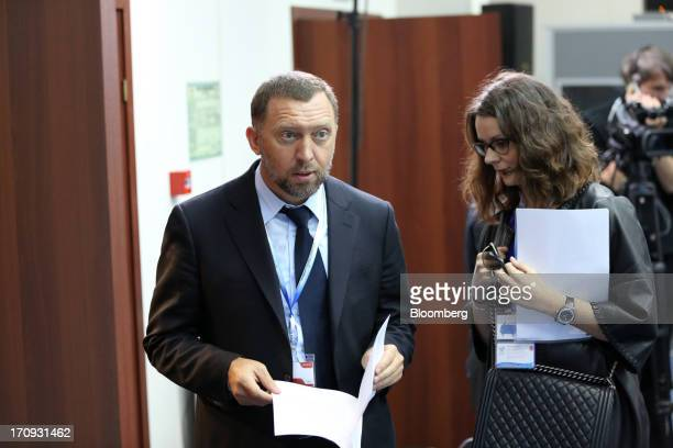 Oleg Deripaska Russian billionaire and chief executive officer of United Co Rusal left arrives to take part in a session on the opening day of the St...