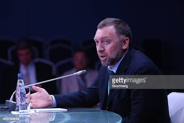 Oleg Deripaska Russian billionaire and chief executive officer of United Co Rusal speaks during a session at the St Petersburg International Economic...