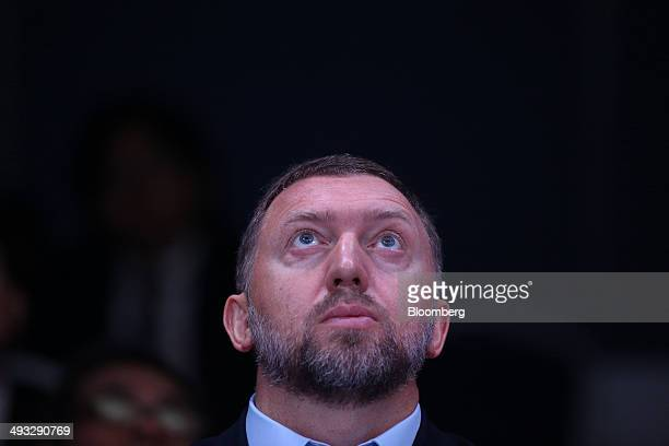 Oleg Deripaska Russian billionaire and chief executive officer of United Co Rusal looks up during a session at the St Petersburg International...