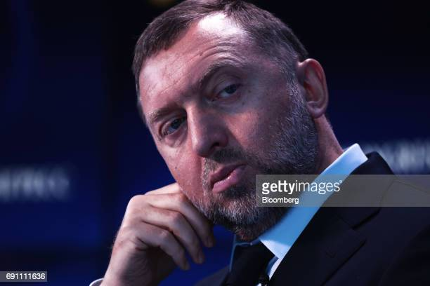 Oleg Deripaska Russian billionaire and president of United Co Rusal pauses on the Bloomberg Television debate panel during the St Petersburg...