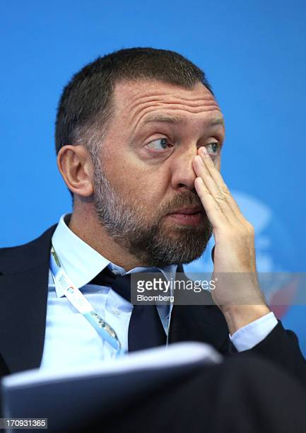 Oleg DeripaskaRussian billionaire and chief executive officer of United Co Rusal pauses during a conference session on the opening day of the St...