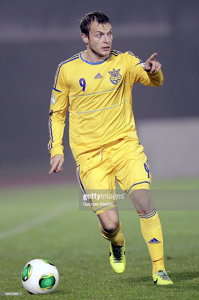 Oleg Gusiev of Ukraine in action during the FIFA 2014 World Cup Qualifier Group H match between San Marino and Ukraine at Serravalle Stadium on October 15, 2013 in Serravalle, Italy.