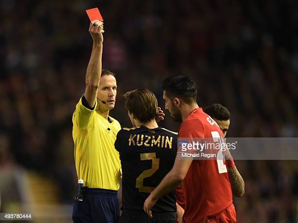 Oleg Kuzmin of Rubin Kazan is sent off by referee Robert Schorgenhofer of Austria after his second bookable offence during the UEFA Europa League...