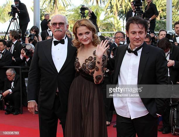 Oleg Menshikov Nadezhda Mihalkova and Nikita Mikhalkov attend the 'Exodus Burnt By The Sun 2' Premiere held at the Palais des Festivals during the...