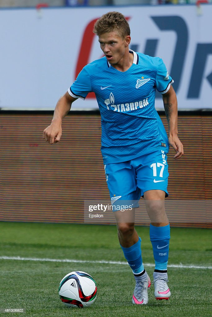 <a gi-track='captionPersonalityLinkClicked' href=/galleries/search?phrase=Oleg+Shatov&family=editorial&specificpeople=9633751 ng-click='$event.stopPropagation()'>Oleg Shatov</a> of FC Zenit St. Petersburg during the Russian Football League match between FC Zenit St. Petersburg and FC Dinamo Moscow at the Petrovsky stadium on July 19, 2015 in St. Petersburg, Russia.