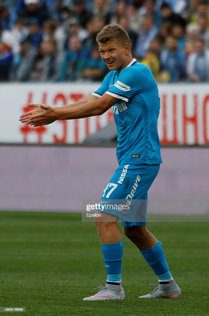 <a gi-track='captionPersonalityLinkClicked' href=/galleries/search?phrase=Oleg+Shatov&family=editorial&specificpeople=9633751 ng-click='$event.stopPropagation()'>Oleg Shatov</a> of FC Zenit St. Petersburg gestures during the Super Cup of Russia 2015 match between FC Zenit St. Petersburg and FC Lokomotiv Moscow at the Petrovsky stadium on July 12, 2015 in St. Petersburg, Russia.