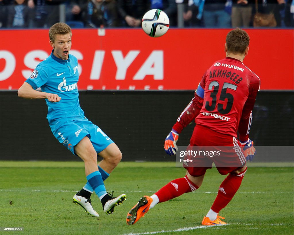 <a gi-track='captionPersonalityLinkClicked' href=/galleries/search?phrase=Oleg+Shatov&family=editorial&specificpeople=9633751 ng-click='$event.stopPropagation()'>Oleg Shatov</a> of FC Zenit St. Petersburg (L) shoots on goal as <a gi-track='captionPersonalityLinkClicked' href=/galleries/search?phrase=Igor+Akinfeev&family=editorial&specificpeople=2167044 ng-click='$event.stopPropagation()'>Igor Akinfeev</a> of PFC CSKA Moscow defends during the Russian Football League match between FC Zenit St. Petersburg and PFC CSKA Moscow at the Petrovsky stadium on April 5, 2015 in St. Petersburg, Russia.