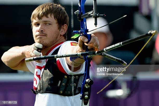 Oleg Shestakov of Russia competes in the Men's Ind Recurve Archery Standing on day 5 of the London 2012 Paralympic Games at The Royal Artillery...