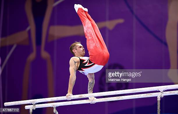 Oleg Stepko of Azerbaijan competes in the Men's Parallel Bars final on day eight of the Baku 2015 European Games at the National Gymnastics Arena on...
