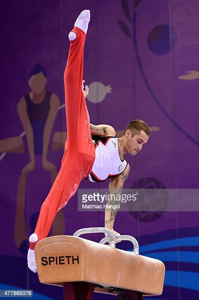 Oleg Stepko of Azerbaijan competes in the Men's Pommel Horse final on day eight of the Baku 2015 European Games at the National Gymnastics Arena on...