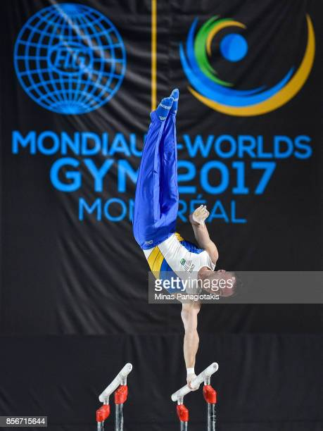Oleg Verniaiev of Ukraine competes on the parallel bars during day one of the Artistic Gymnastics World Championships on October 2 2017 at Olympic...