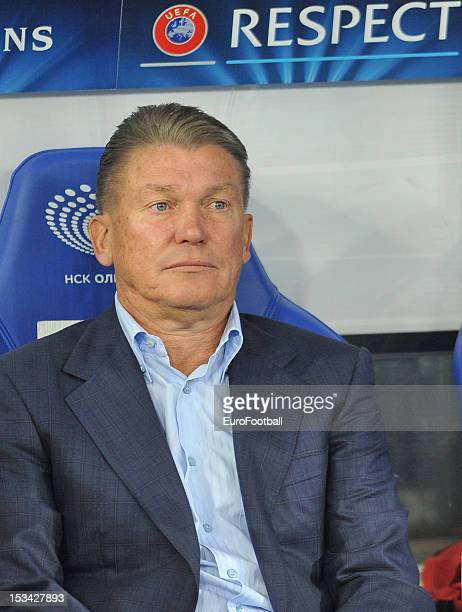 Oleh Blokhin coach of FC Dynamo Kyiv looks on during the UEFA Champions League group stage match between FC Dynamo Kyiv and GNK Dinamo Zagreb at the...