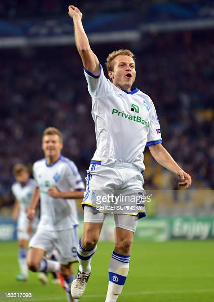 Oleh Gusev of FC Dynamo Kiev reacts after he scored against GNK Dinamo Zagreb during their UEFA Champions League football match in Kiev on October 3...