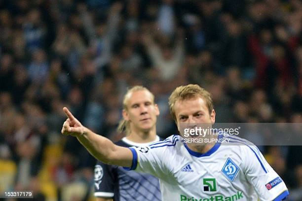 Oleh Gusev of FC Dynamo Kiev reacts after he scored against GNK Dinamo Zagreb during during UEFA Champions League Group A football match in Kiev on...
