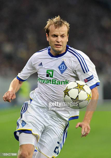 Oleh Gusev of FC Dynamo Kyiv in action during the UEFA Champions League group stage match between FC Dynamo Kyiv and GNK Dinamo Zagreb at the...