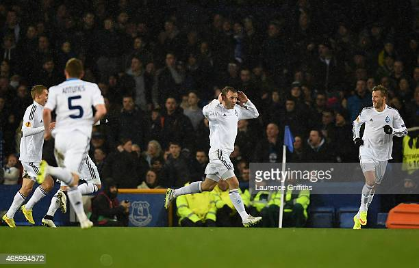 Oleh Husyev of Dynamo Kyiv clebrates after scoring the opening goal during the UEFA Europa League Round of 16 first leg match between Everton and FC...