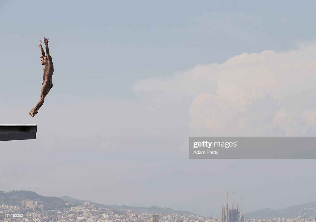 Oleksandr Gorshkovozov and Dmytro Mezhenskyi compete in the Men's 10m Platform Synchronised Diving final on day two of the 15th FINA World Championships at Piscina Municipal de Montjuic on July 21, 2013 in Barcelona, Spain.