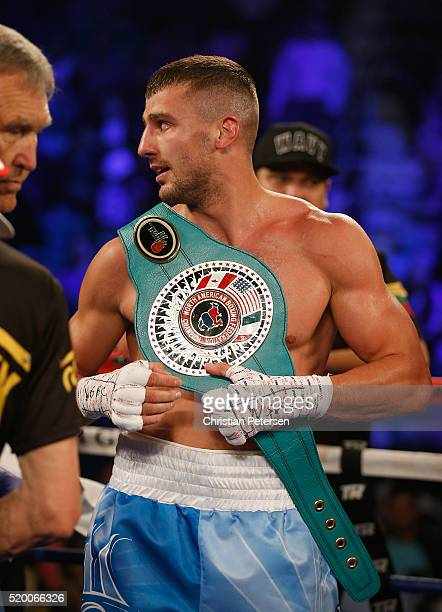 Oleksandr Gvozdyk celebrates after defeating Nadjib Mohammed by knockout during their light heavyweight fight on April 9 2016 at MGM Grand Garden...