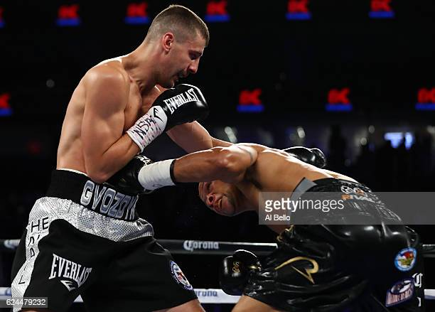 Oleksandr Gvozdyk of Ukraine and Isaac Chilemba of Malawi trade punches during their light heavyweight bout at TMobile Arena on November 19 2016 in...