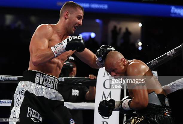 Oleksandr Gvozdyk of Ukraine lands a left to the head of Isaac Chilemba of Malawi during their light heavyweight bout at TMobile Arena on November 19...