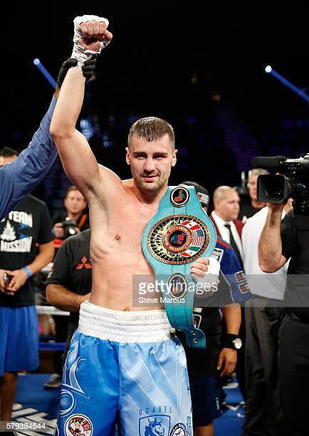 Oleksandr Gvozdyk of Ukraine poses after his light heavyweight fight against Tommy Karpency at MGM Grand Garden Arena on July 23 2016 in Las Vegas...