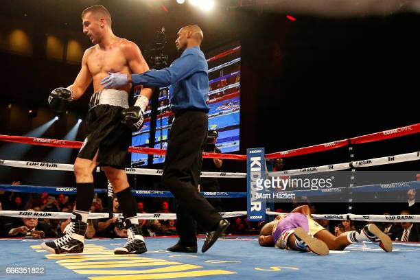 Oleksandr Gvozdyk of Ukraine reacts after defeating Yuniesky Gonzalez in their NABF/NABO Light Heavyweight Championship bout at The Theater at MGM...