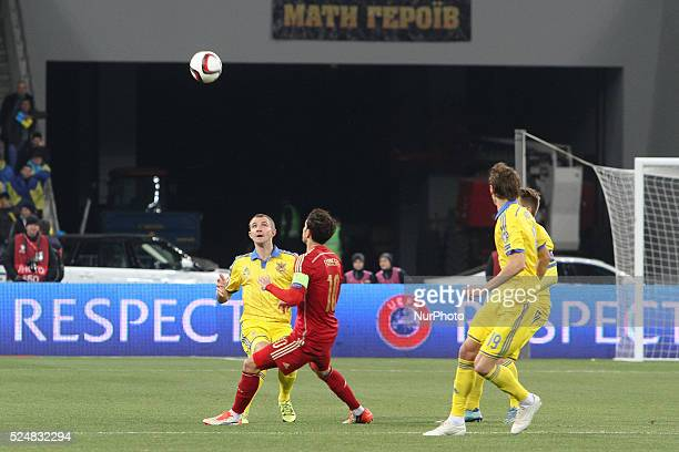 Oleksandr Kucher of Ukraine national team vies with Cesc F��bregas of Spain during the during the European Qualifiers 2016 match between Ukraine and...