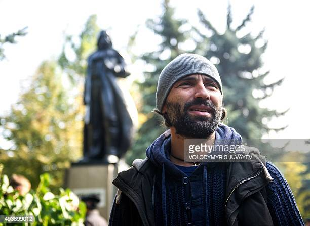 Oleksandr Milov a sculptor from Odessa attends the inauguration ceremony of a Darth Vader monument formerly a statue of Soviet founder Lenin in the...