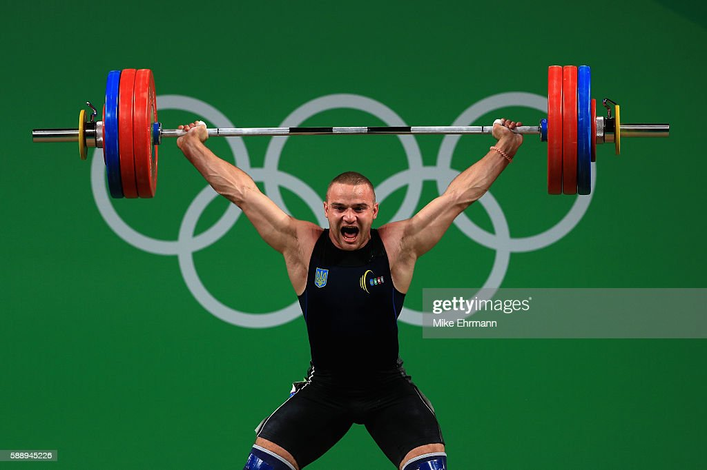 Oleksandr Pielieshenko of Ukraine during the Weightlifting Men's 85kg on Day 7 of the Rio 2016 Olympic Games at Riocentro Pavilion 2 on August 12...