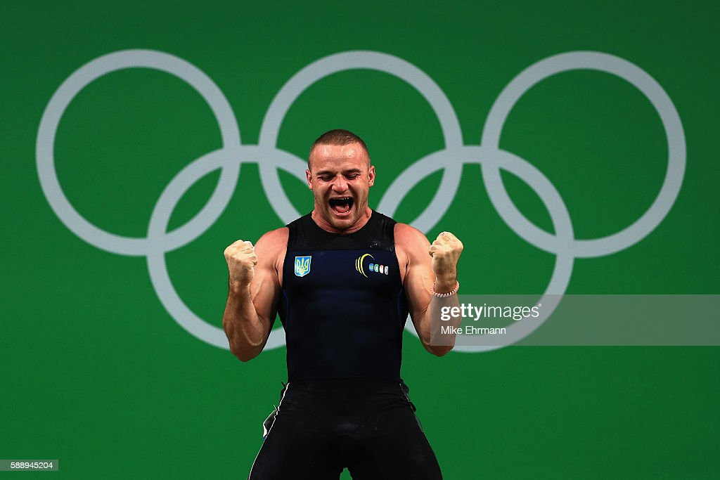Oleksandr Pielieshenko of Ukraine reacts during the Weightlifting Men's 85kg on Day 7 of the Rio 2016 Olympic Games at Riocentro Pavilion 2 on August...