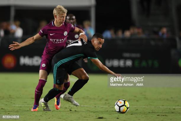 Oleksandr Zinchenko of Manchester City and Lucas Vazquez of Real Madrid during the International Champions Cup 2017 match between Manchester City and...