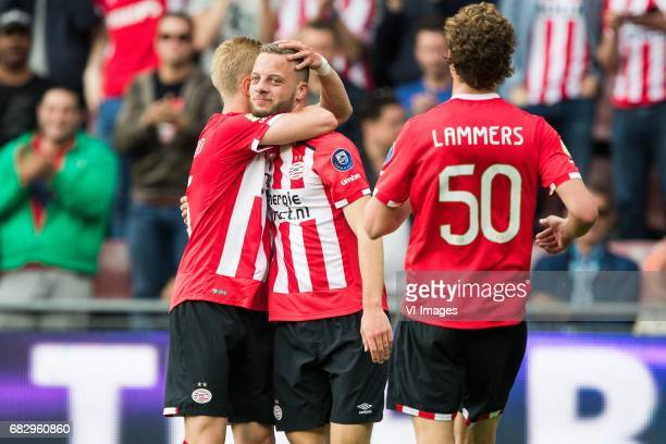 Oleksandr Zinchenko of PSV Bart Ramselaar of PSV Sam Lammers of PSVduring the Dutch Eredivisie match between PSV Eindhoven and PEC Zwolle at the...