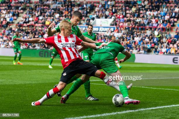 Oleksandr Zinchenko of PSV Ted van de Pavert of PEC Zwolle Wouter Marinus of PEC Zwolleduring the Dutch Eredivisie match between PSV Eindhoven and...