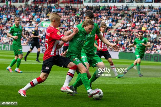Oleksandr Zinchenko of PSV Wouter Marinus of PEC Zwolle Ted van de Pavert of PEC Zwolleduring the Dutch Eredivisie match between PSV Eindhoven and...