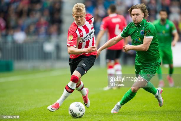 Oleksandr Zinchenko of PSV Wouter Marinus of PEC Zwolleduring the Dutch Eredivisie match between PSV Eindhoven and PEC Zwolle at the Phillips stadium...