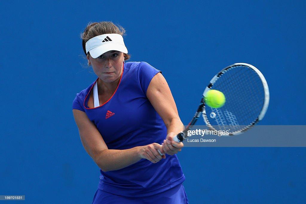Oleksandra Korashvili of the Ukraine plays a backhand in her first round match against Nicoleta Dascalu of Romania during the 2013 Australian Open Junior Championships at Melbourne Park on January 19, 2013 in Melbourne, Australia.