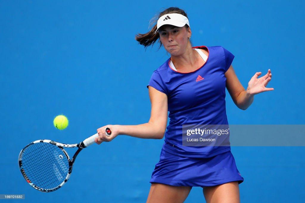 Oleksandra Korashvili of the Ukraine plays a forehand in her first round match against Nicoleta Dascalu of Romania during the 2013 Australian Open Junior Championships at Melbourne Park on January 19, 2013 in Melbourne, Australia.