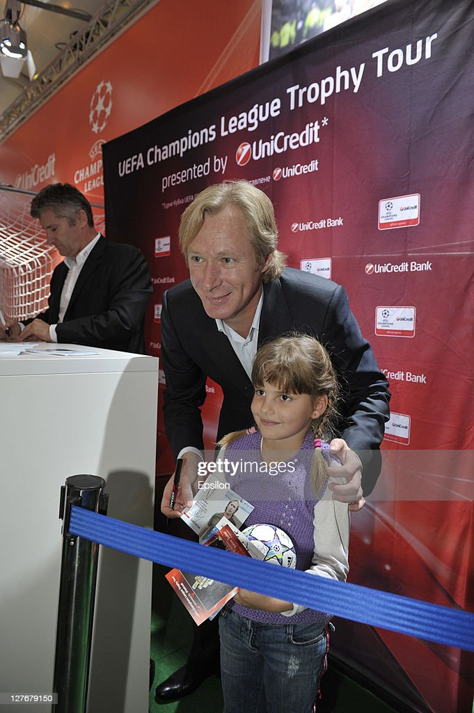 Oleksey Mykhailychenko, UniCredit Bank Ambassador for the UEFA Champions League Tropy Tour 2011 in Ukraine during a signing session for fans at the UEFA Champions League Trophy Tour 2011 on September 30, 2011 in Kiev, Ukraine.