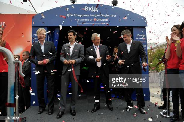 Oleksey Mykhailychenko UniCredit Bank Ambassador for the UEFA Champions League Tropy Tour 2011 in Ukraine Luis Figo Borys Tymonkin and Davor Suker...