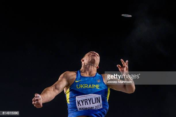 Oleksiy Kyrylin of Ukraine competes in the boys discus throw final during day 4 of the IAAF U18 World Championships at Moi International Sports...