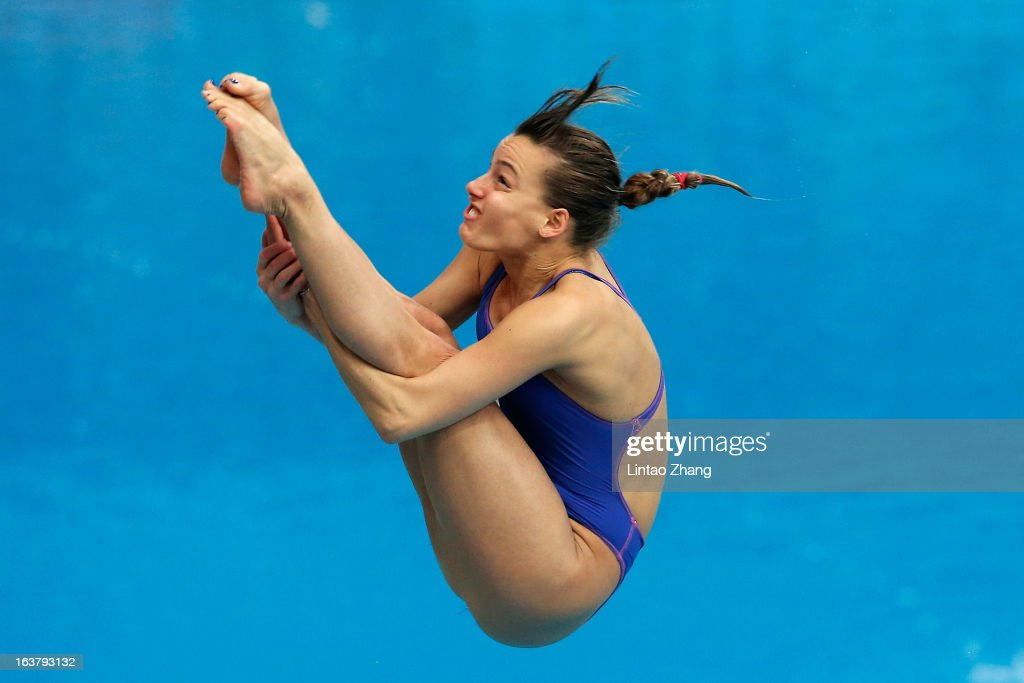 Olena Fedorovaof Ukraine competes in the Women's 3m springboard final during the day two of the FINA Diving World Series Beijing Station at the National Aquatics Center on March 16, 2013 in Beijing, China.