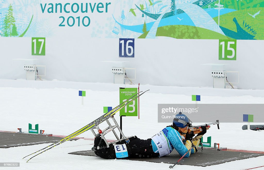 Olena Iurkovska of the Ukraine shoots during the Women's 24km Pursuit Sitting Biathlon on Day 2 of the 2010 Vancouver Winter Paralympics at Whistler...