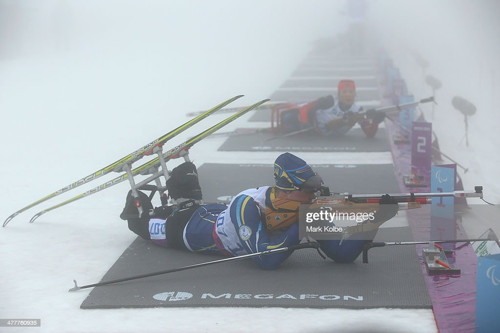 Olena Iurkovska of Ukraine competes in the Women's 10km Sitting Biathlon during day four of Sochi 2014 Paralympic Winter Games at Laura Crosscountry...