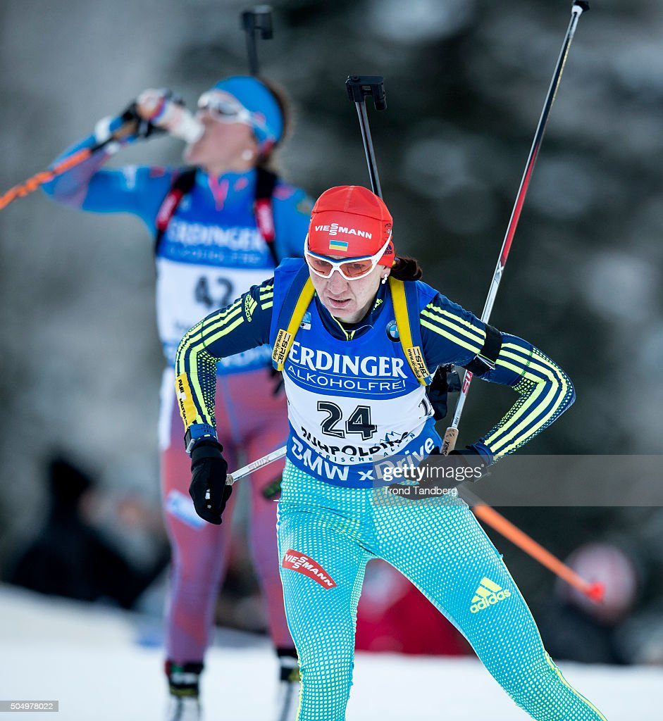 Olena Pidhrushna of UKR in action during the Women's 25 km individual Biathlon race at the IBU Biathlon World Cup Ruhpolding on January 14, 2016 in Ruhpolding, Germany.