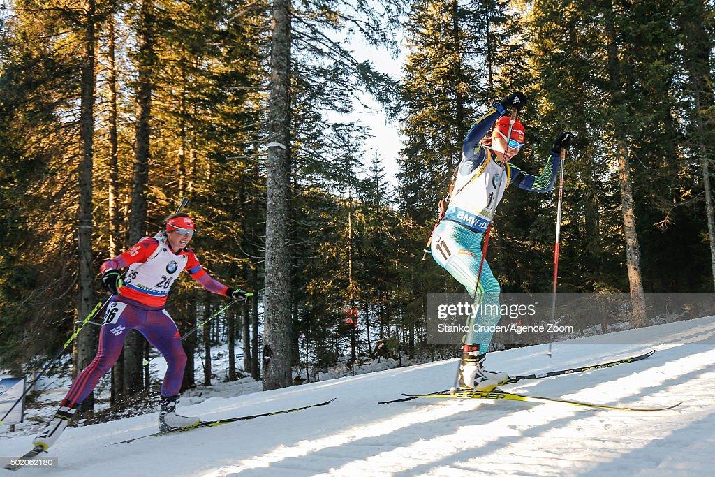 Olena Pidhrushna of Ukraine competes during the IBU Biathlon World Cup Men's and Women's Mass Start on December 20, 2015 in Pokljuka, Slovenia.