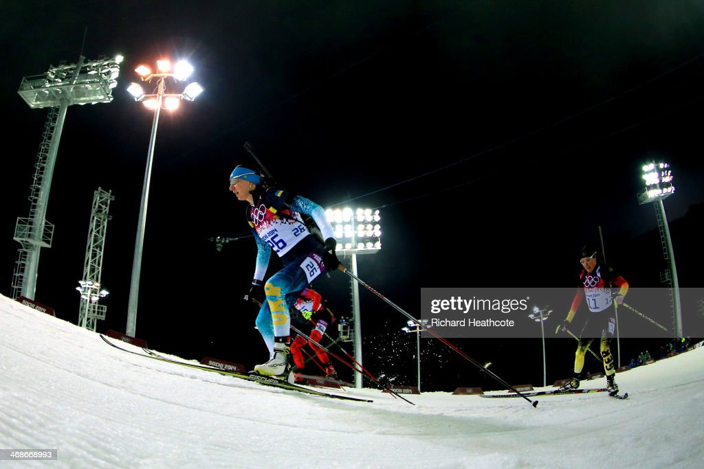 Olena Pidhrushna of Ukraine competes in the Women's 10 km Pursuit during day four of the Sochi 2014 Winter Olympics at Laura Cross-country Ski & Biathlon Center on February 11, 2014 in Sochi, Russia.