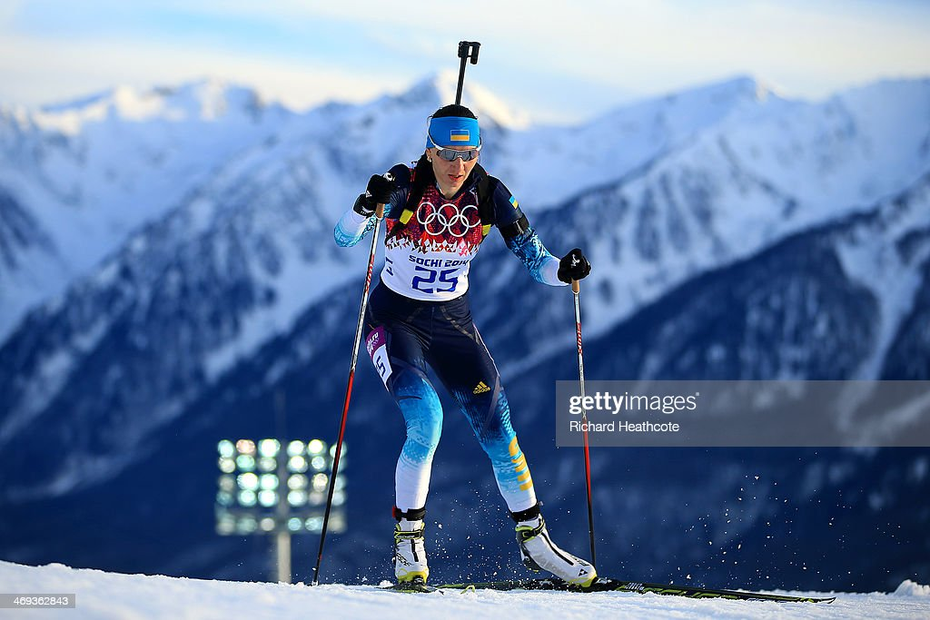 Olena Pidhrushna of Ukraine competes in the Women's 15 km Individual during day seven of the Sochi 2014 Winter Olympics at Laura Cross-country Ski & Biathlon Center on February 14, 2014 in Sochi, Russia.
